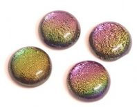 4 Dichroic lampwork 10mm Round Cabochons